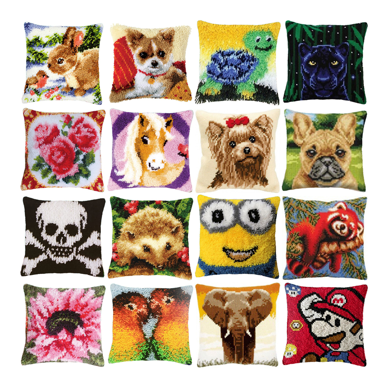 cartoon animals carpet embroidery cross stitch pillow tapestry kits do it yourself latch hook pillow cushion cover pillow diy buy latch hook kit pillow cushion for home decor latchhook kit embroider product on alibaba com