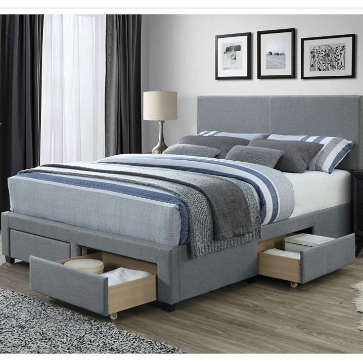 panel bed frame with storage drawers and upholstered headboard queen size in grey linen style fabric buy queen size bed loft bed queen size plywood