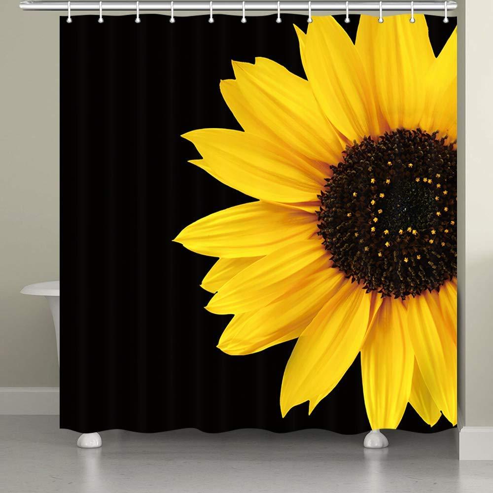 sunflower shower curtains autumal wild flower nature black yellow art bath curtain buy bath shower windows curtain art deco shower curtain yellow