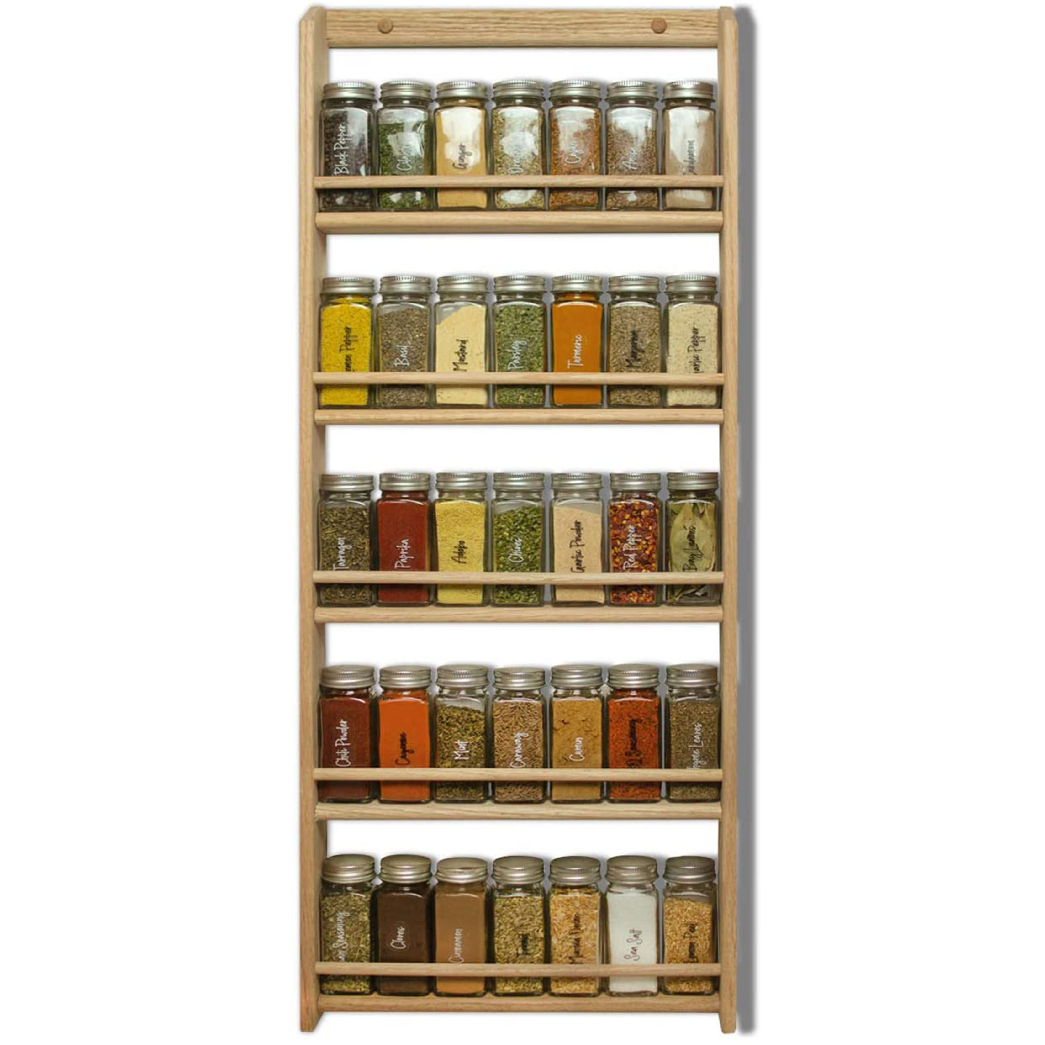 wood spice rack organizer 5 tier wall mounted seasoning storage for pantry and kitchen buy spice rack 5 tier wall mounted seasoning storage for