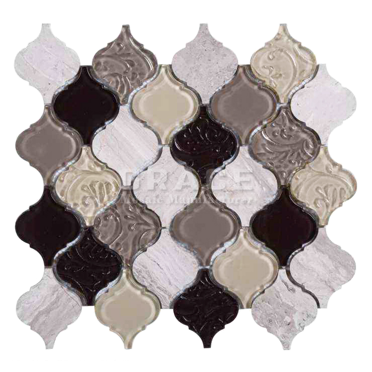 arabesque marble mosaics gray and brown crystal large wall glass tile backsplash buy mosaics gray and brown crystal large glass tile backsplash