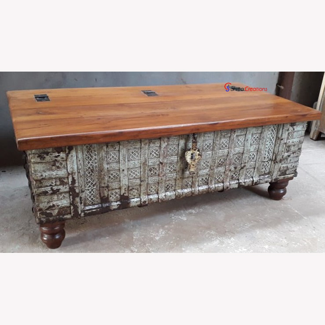 wholesaler vintage industrial wooden reclaimed recycled old design dhamchiya pitara storage trunk blanket box coffee table view wholesale wooden