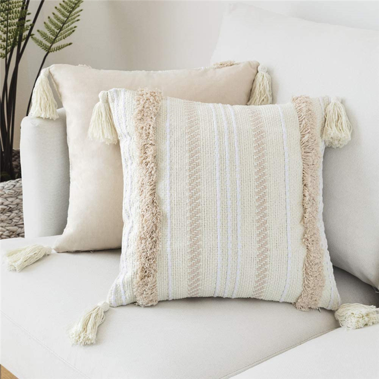 wholesale home decorative white woven tufted tassel cushion cover cotton knitted fringed sofa couch throw pillow covers buy boho neutral decorative throw pillow covers indoor outdoor pillow cases with tassels 18x18 inch woven