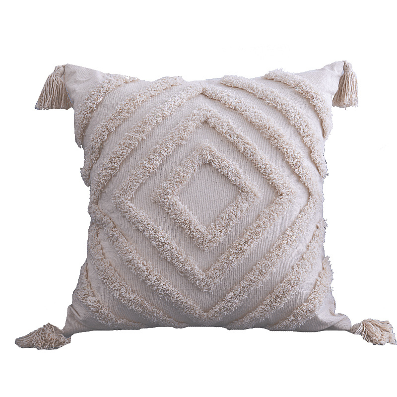 boho pillow cover cotton tufted woven pillow cover decorative square pillowcases for couch sofa bed buy woven pillow cover boho pillow
