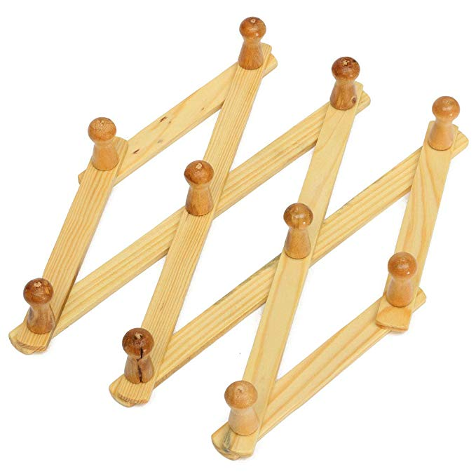 natural wood accordion style expandable wall mounted hanger rack with 10 hooks buy wall hanger wall mounted hanger cloth hanger rack product on