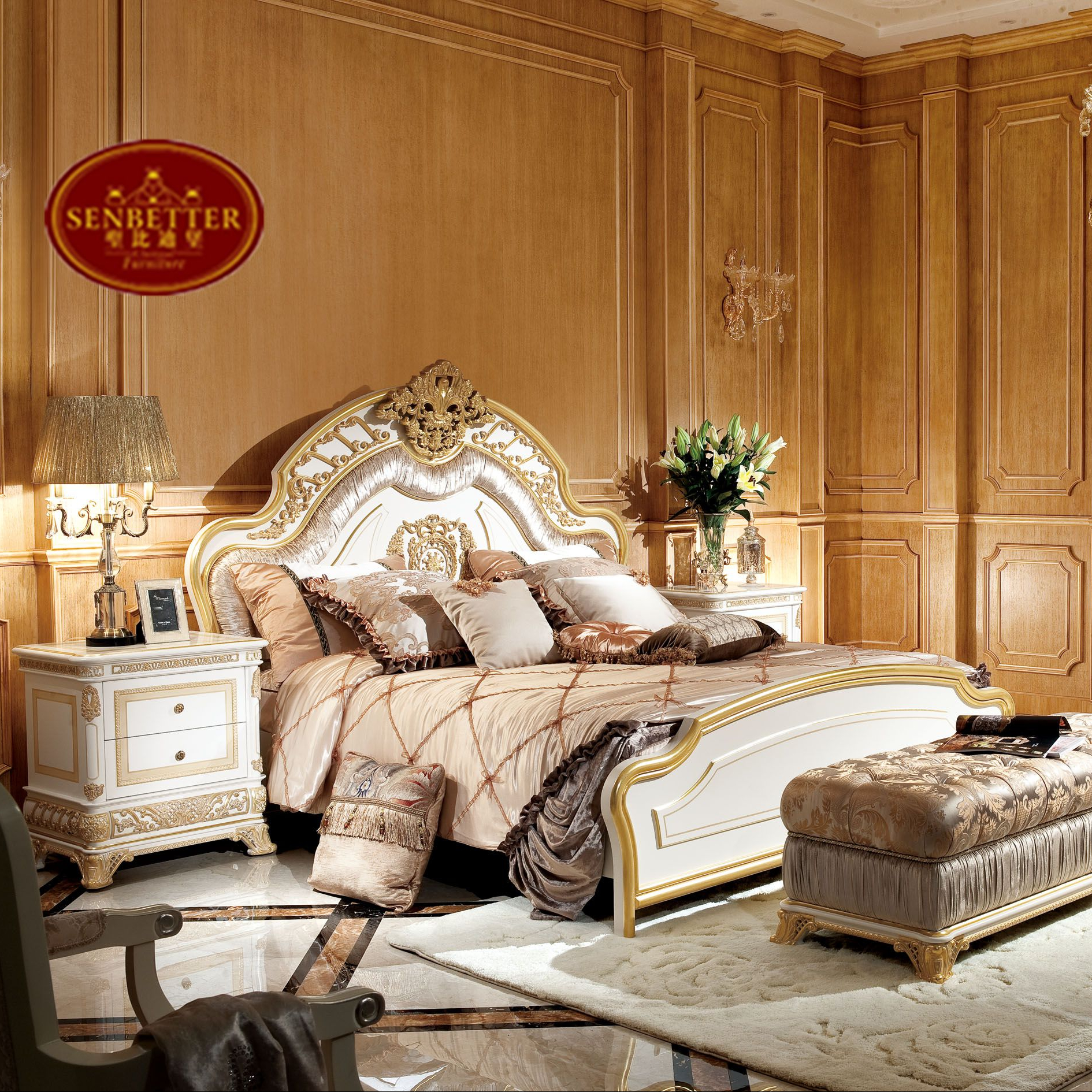 0062 new arrival white gold french style bed set noble solid wood bedroom furniture buy french bed white bedroom set wood bedroom set product on