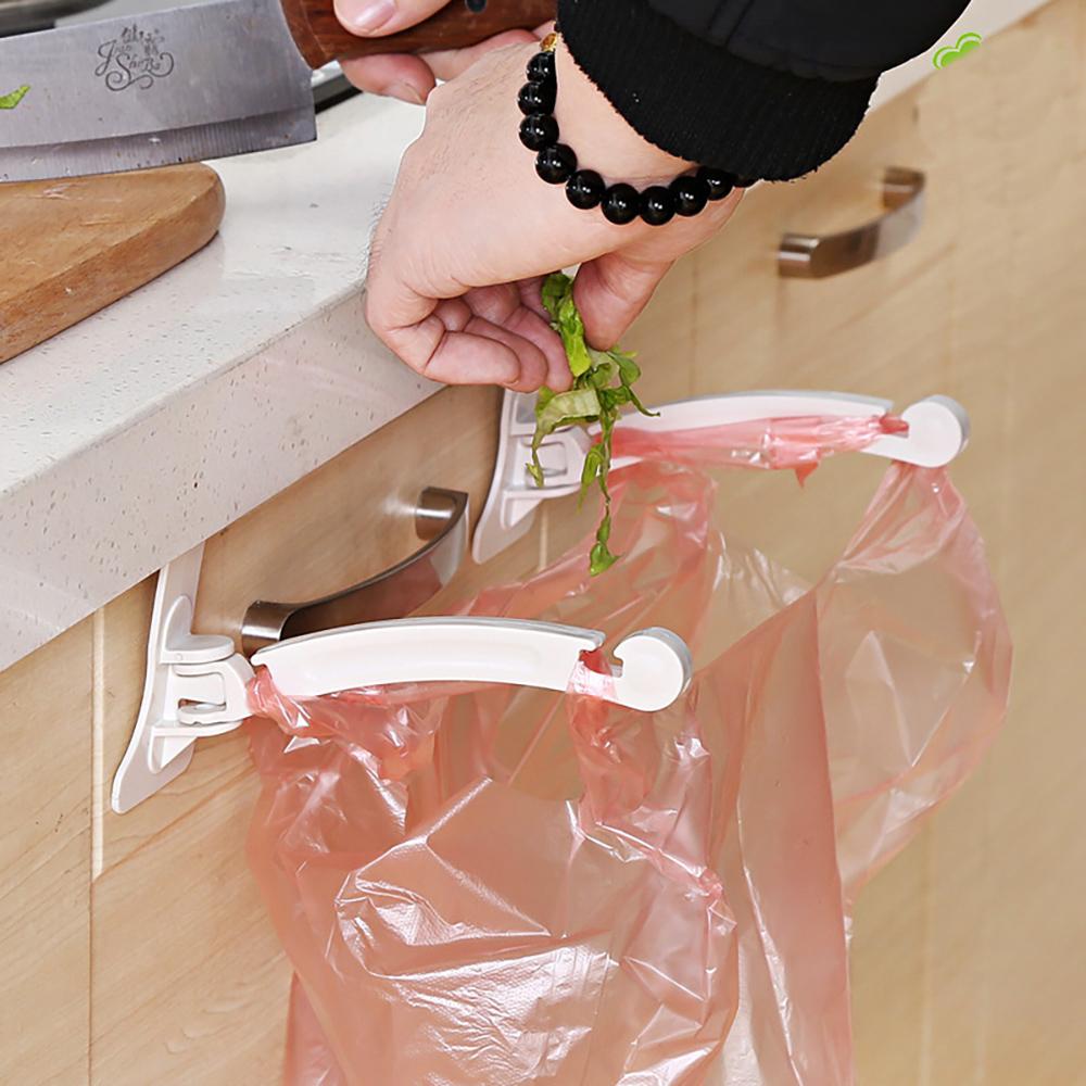 plastic garbage bag rack holder door back type one pair multi functional for kitchen hook hang over cabinet door buy wholesale 1 set new kitchen