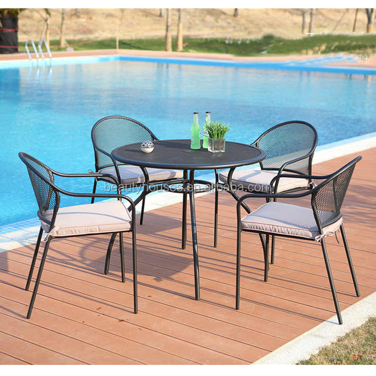 stock 5 pieces outdoor pool furniture round black steel patio dining table set with black mesh dining chair buy outdoor table set outdoor pool