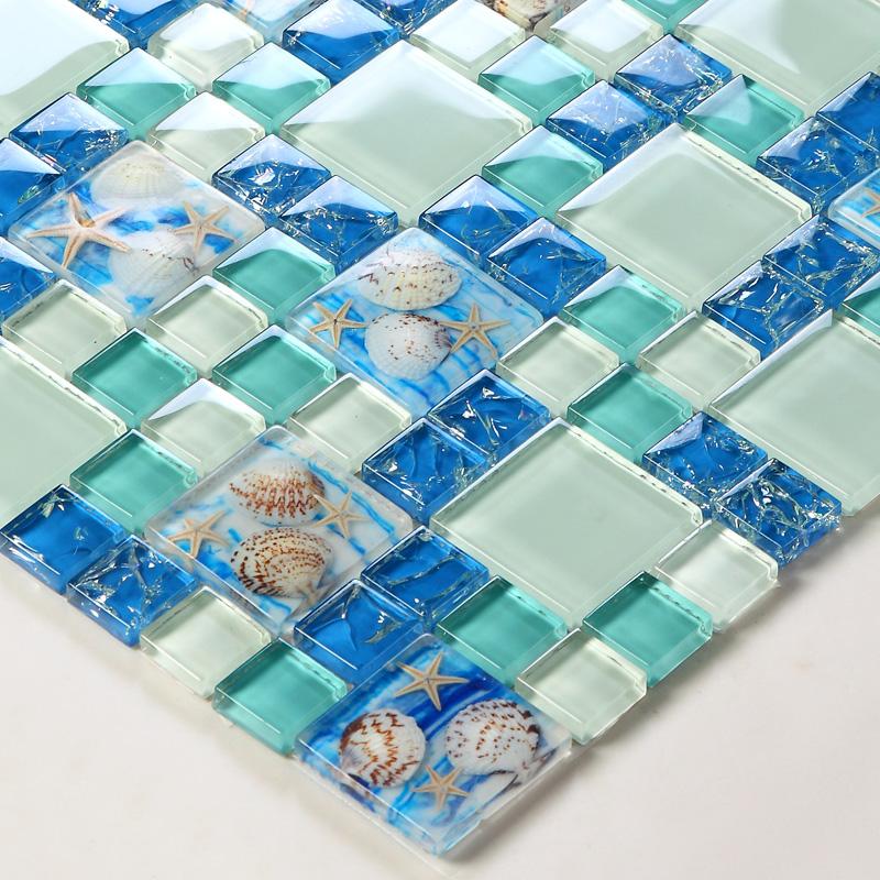 glass tiles beach style sea blue glass tile glass mosaics wall art kitchen shell pattern backsplash bathroom design buy glass mosaic design