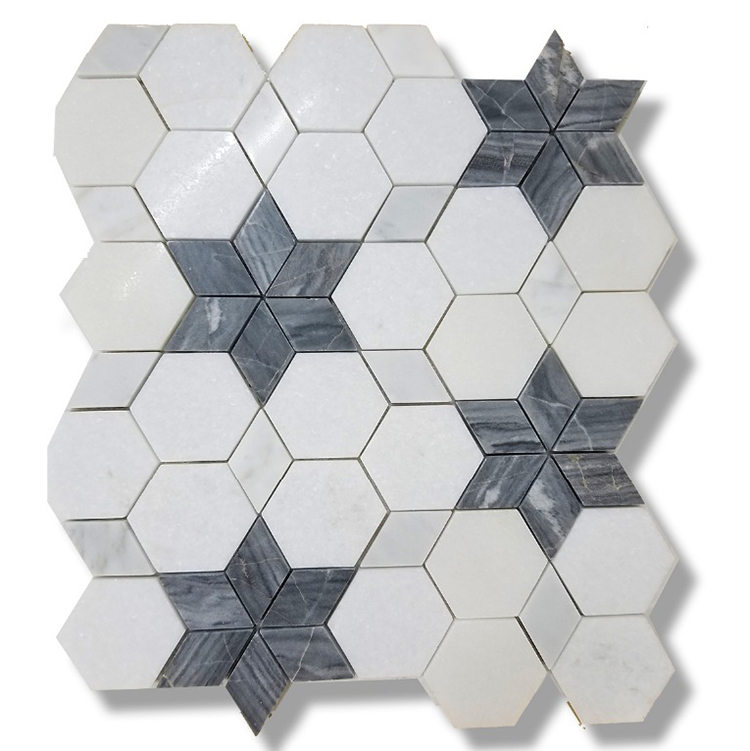 white hexagon and dark grey hexagram marble mosaic tile backsplashes kitchen and bathroom buy white hexagon and dark grey hexagram marble