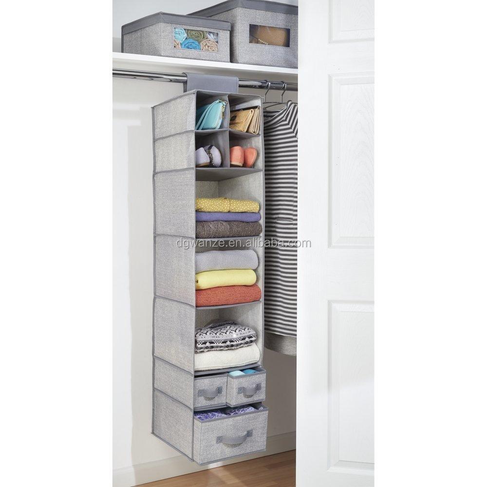 placard de rangement suspendu en tissu 7 etageres et 3 tiroirs organisateur buy 7 etageres et organisateur de stockage de placard de 3