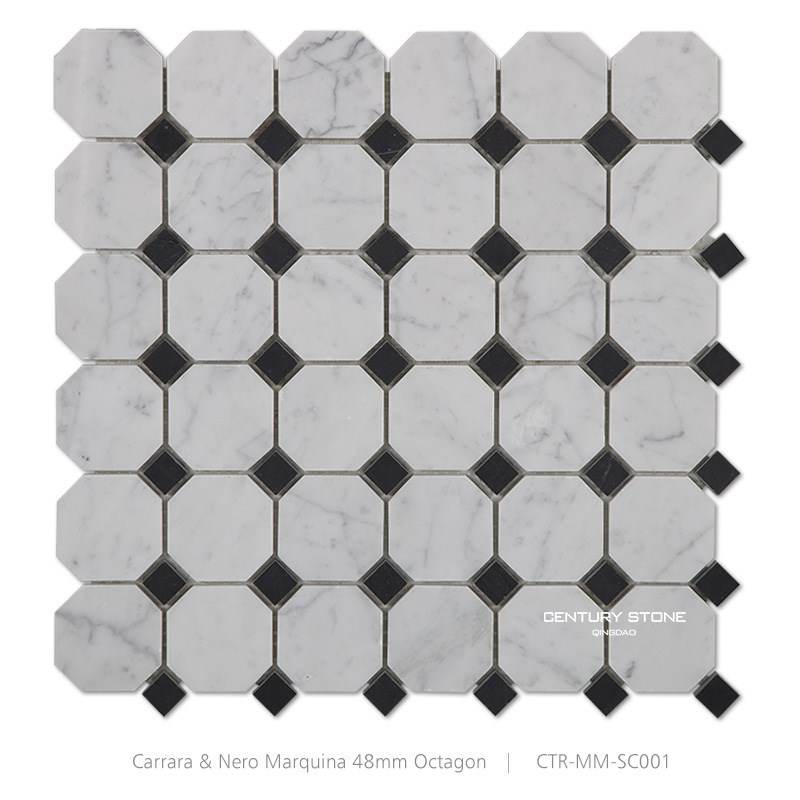 italian carrara marble octagon black and white floor mosaic tile buy black and white mosaic italian carrara floor mosaic tile octagon floor mosaic