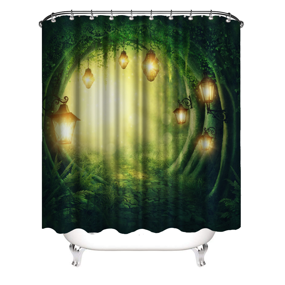 dark forest shower curtain fantasy fairy tale tree with magic lights waterproof polyester fabric bath curtains for bathroom buy green shower curtain