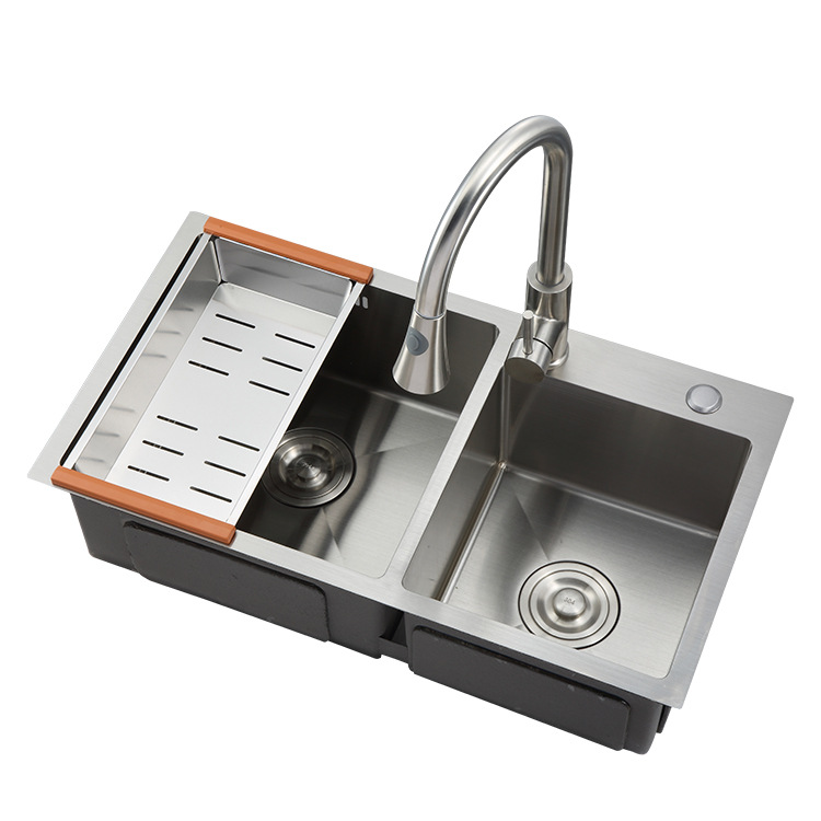 8045 standard size stainless steel double bowl corner kitchen handmade laundry sink view double bow kitchen sink ywleto product details from yiwu