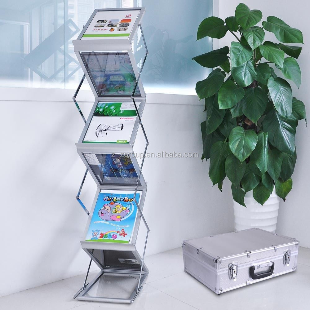 acrylic literature stand a4 brochure rack book holder 3 tiers buy a4 folding book litureture display rack portable brochure holder aluminum alloy