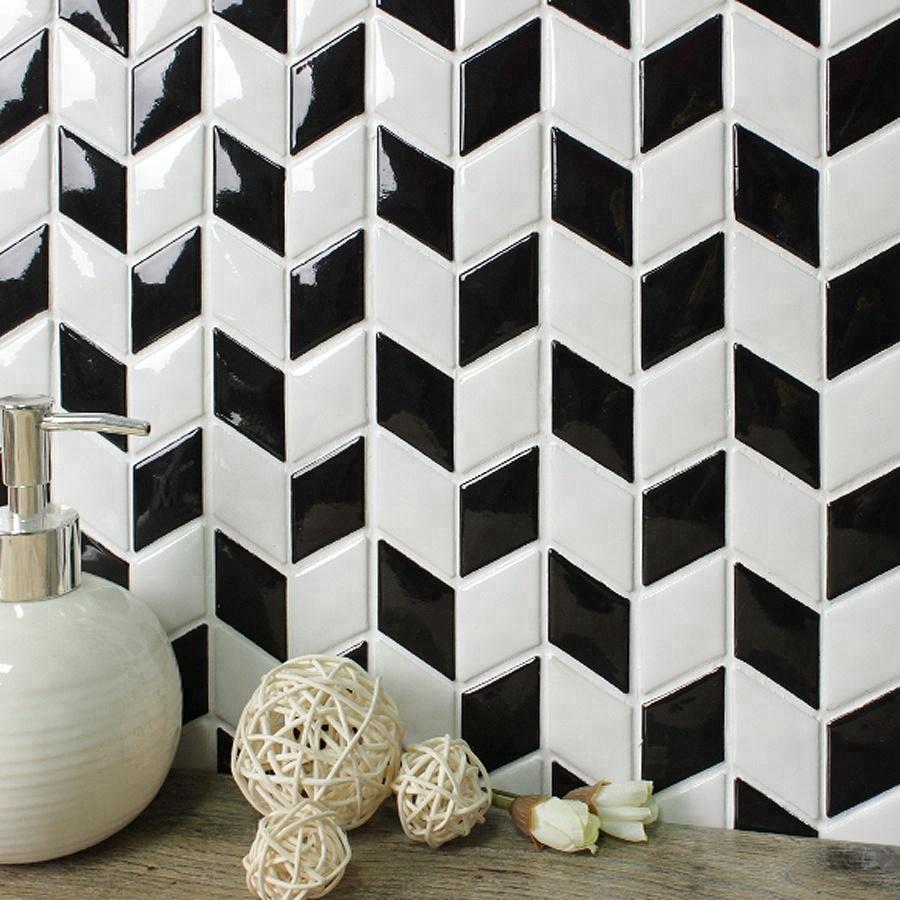 chinese supplier black white rhombus ceramic mosaic wall tiles backsplash buy mosaic wall tiles mosaic tile backsplash rhombus ceramic tile product