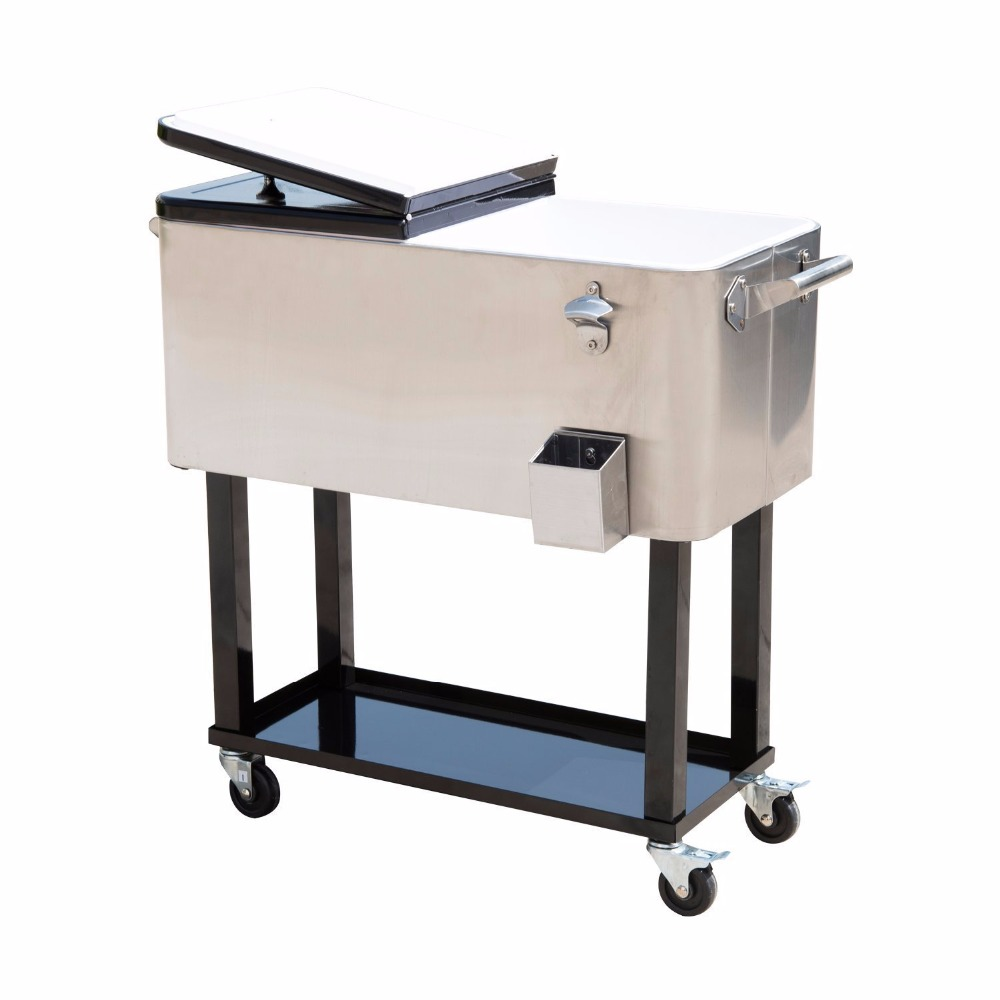 80 qt outdoor patio cooler table with wheels stainless steel rolling cooler with shelf buy large cooler box cooler box with wheels camping cooler