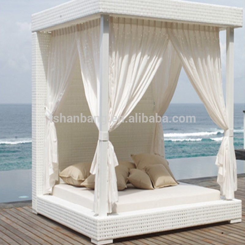 luxury white wicker gazebo canopy outdoor patio furniture bed set view outdoor daybed love rattan product details from foshan hanbang furniture