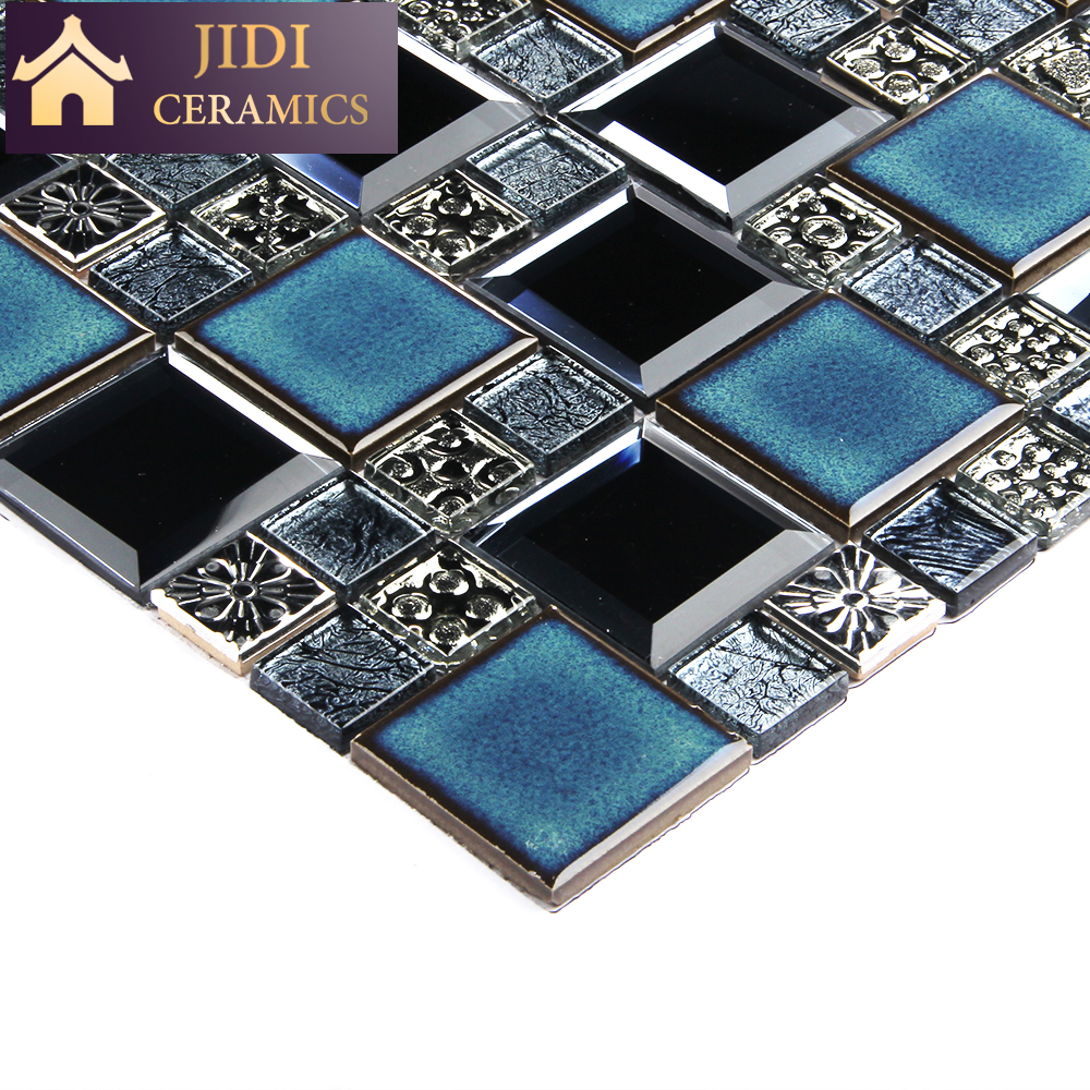 new design luxurious blue classic decorative kiln change ceramic mix mirror glass mosaic tile buy glass mosaic tile mosaic tile glass blue mosaic