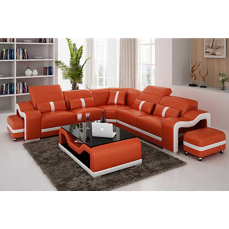 big size l shaped living room furniture deep orange genuine leather sofa buy lady style leather sofa pure leather sofa high quality leather living