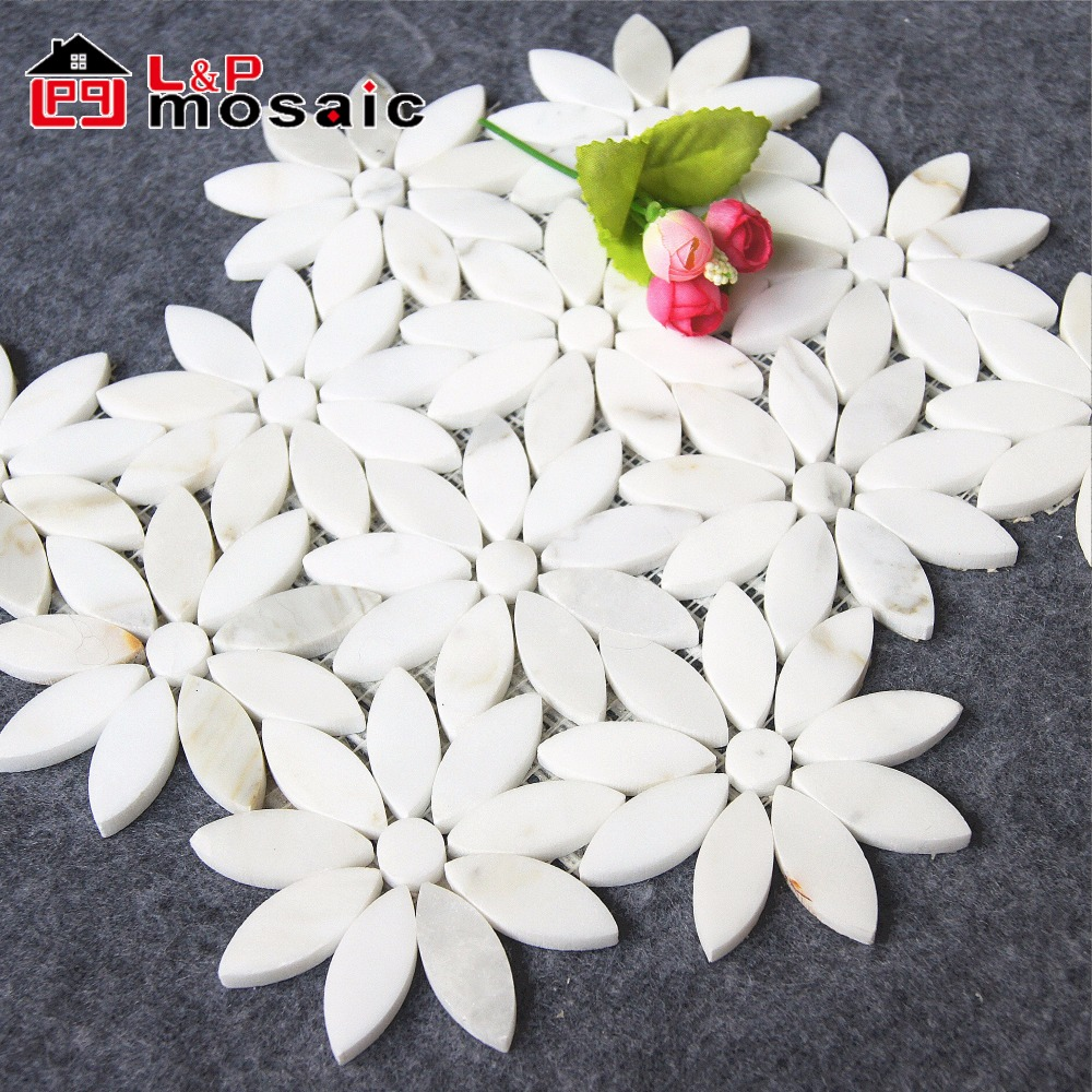 water jet carrara white flower marble mosaic tile for interior wall decoration buy flower mosaic mosaic flower wall tiles flower marble mosaic tile