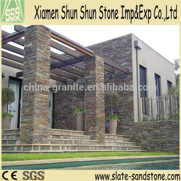 natural slate exterior wall stone tile for exterior walling buy exterior wall stone tile stone pillar outdoor stone wall tile product on alibaba com