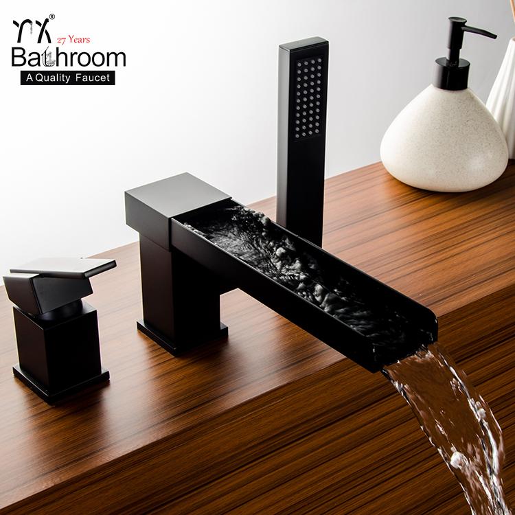 bathroom sanitary ware hardware product 3 hole bath faucet matte black waterfall bathtub faucet buy matte black waterfall bathtub faucet 3 hole