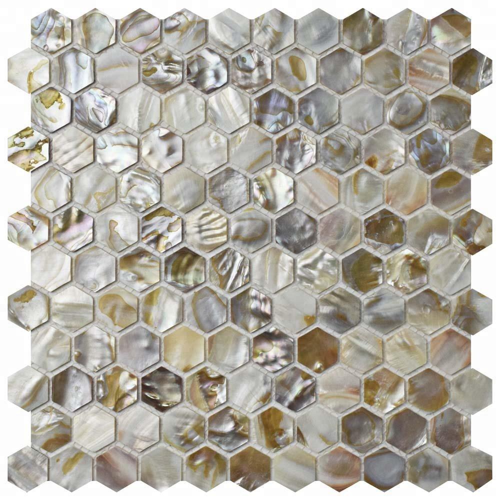 brown color hexagonal mop seashell backsplash mosaic bathroom floor tiles for house decoration buy mop seashell mosaic tiles seashell backsplash