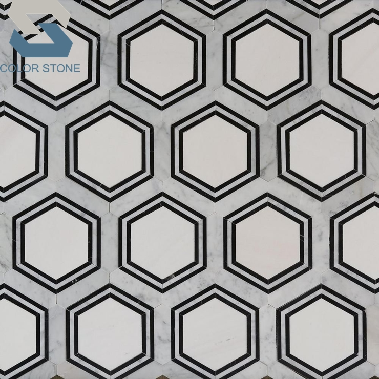 black and white marble colored hexagon mosaic bathroom floor tiles buy colored hexagon mosaic tile white marble hexagon mosaic black marble hexagon