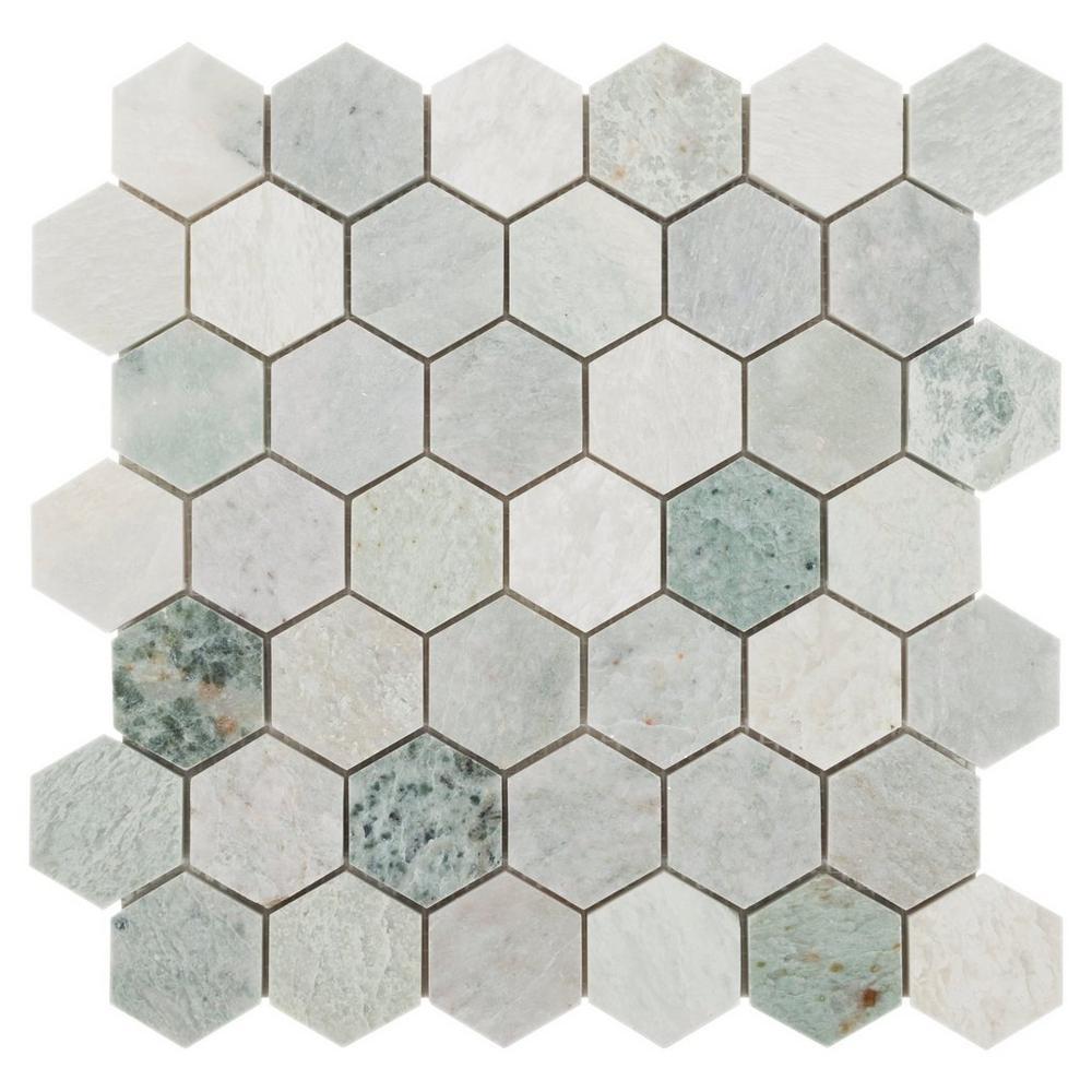 carrelage hexagonal en pierre naturelle mosaique de couleur verte poli chinois ming pour la salle de bain 2 10 pieces buy carreau hexagonal vert