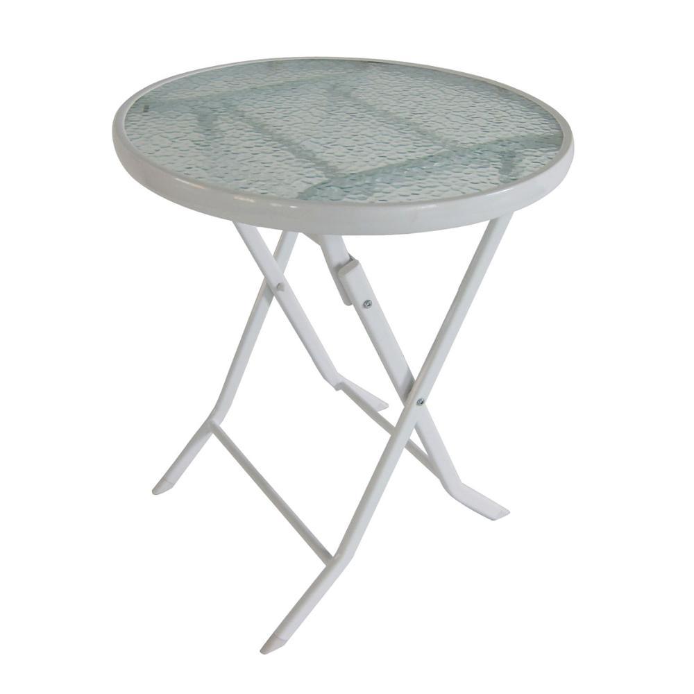 table pliable ronde en metal et verre 60x60cm pour jardin exterieur buy table pliante table de jardin en verre metallique table exterieure ronde en