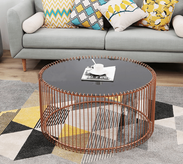 glass top metal wire copper round coffee table buy glass top rose gold round wedding coffee table modern round nesting coffee tables glass top metal