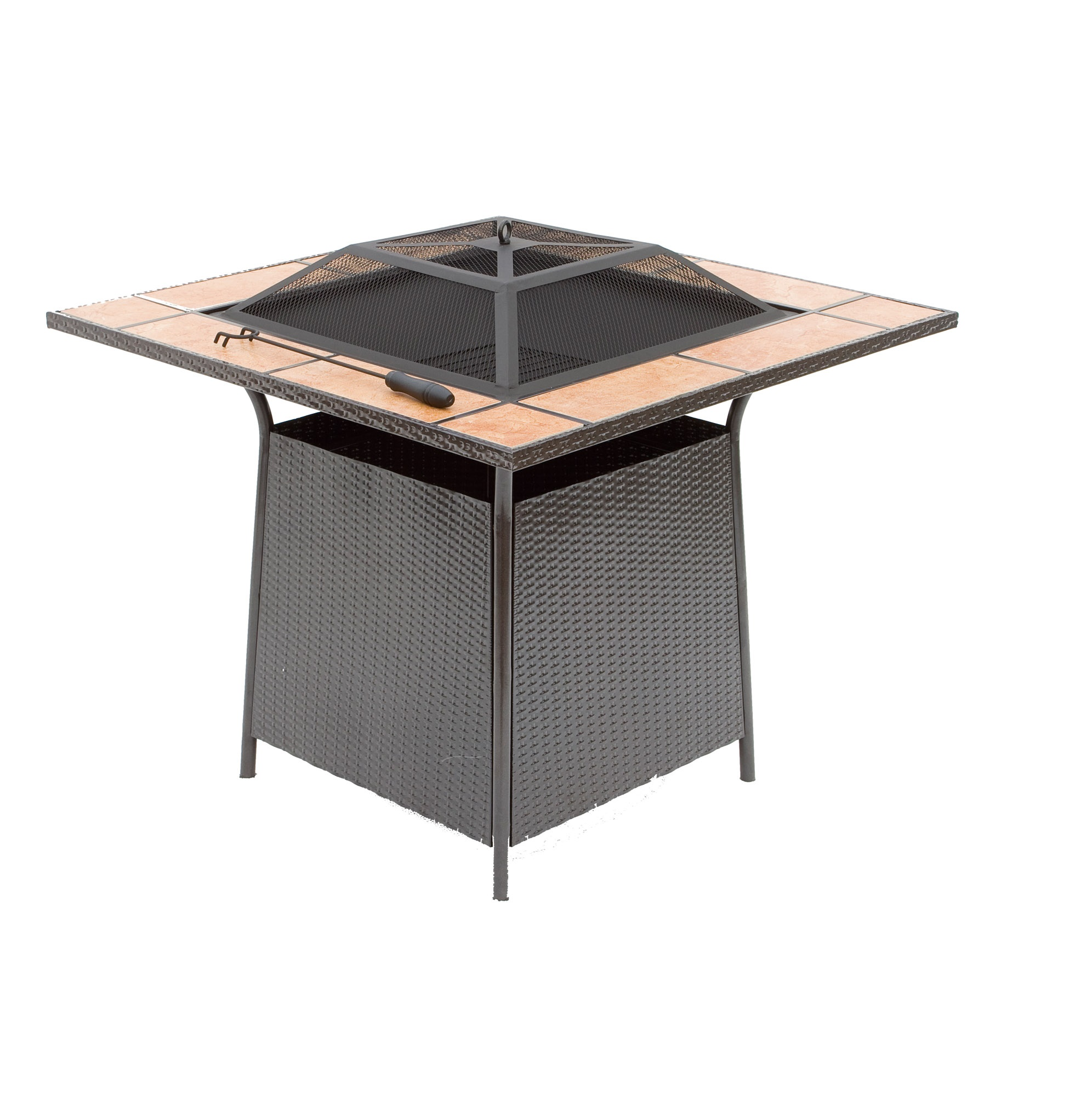 square outdoor garden rattan like fire pit with tile top coffee table buy coffee table outdoor fire pit firepits product on alibaba com
