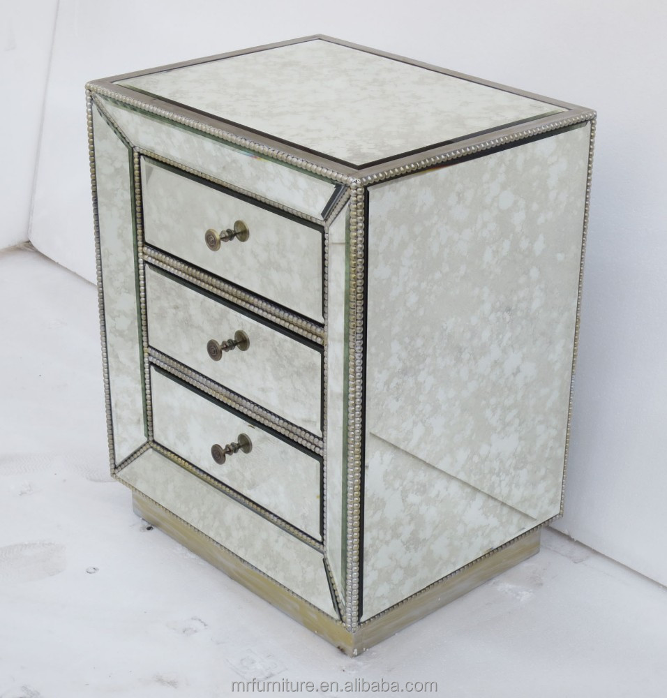 antique mirrored night stand with dirstressed wooden beads frame buy antique mirrored chest distressed wooden beads frame side table antique