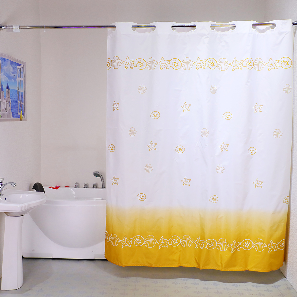 custom ocean shell style high quality 100 polyester printed hookless shower curtain buy hookless shower curtain high quality shower curtain ocean