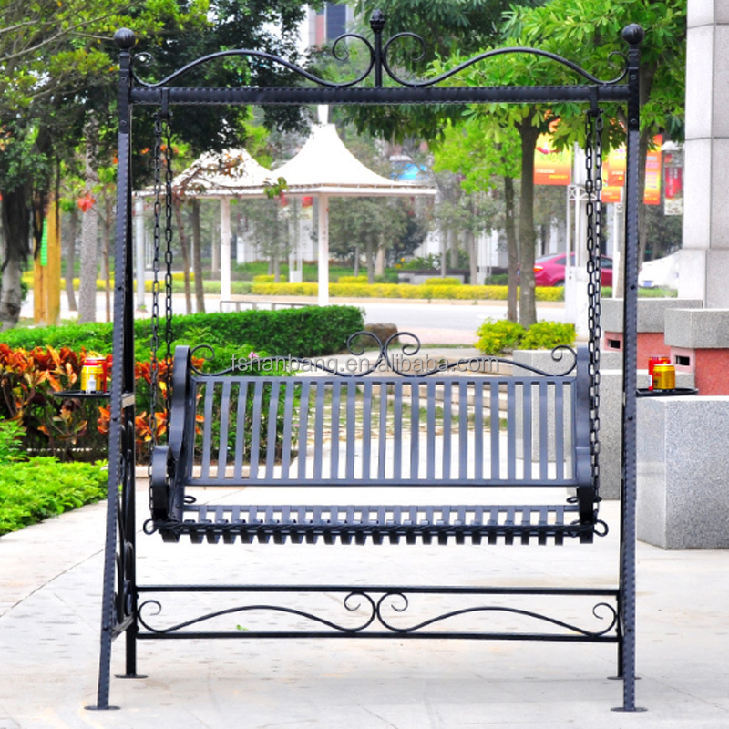 outdoor garden metal canopy frame swing chair view metal canopy swing love rattan product details from foshan hanbang furniture co ltd on