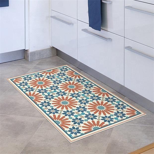 tapis en vinyle bleu orange personnalise avec carreaux zlige design de style marocain imprime sur tapis de surface buy tapis en vinyle tapis de sol