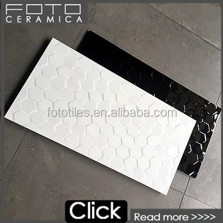 300x600 gloss hexagon white and black rectified edge ceramic wall tile buy rectified edge tile rectified edge ceramic wall tile white and black