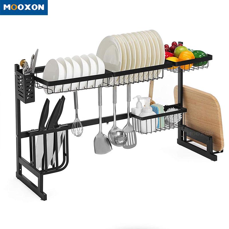 2 tier 85cm utensil kitchen organizer storage holder dish drainer stainless steel sink rack buy 2 tier metal kitchen plate drying rack stainless