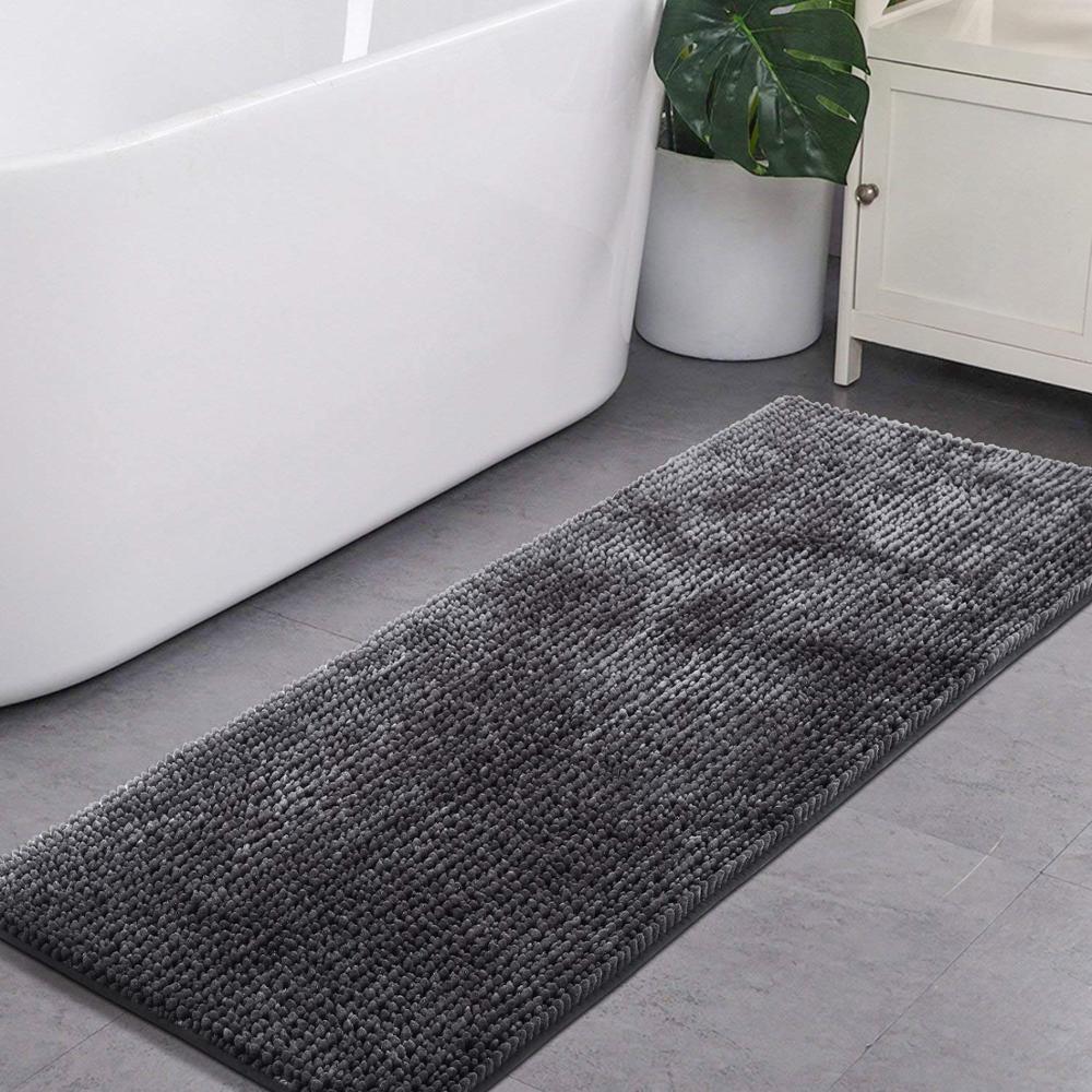 tapis de bain antiderapant en chenille cuisine super doux gris fonce pour la salle de bain lavage sechage a la machine buy tapis chenille tapis