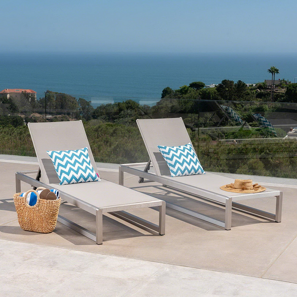 patio sling lounge chair brushed aluminum used chaise outdoor hotel villa resort garden swimming pool beach sun lounger buy sun
