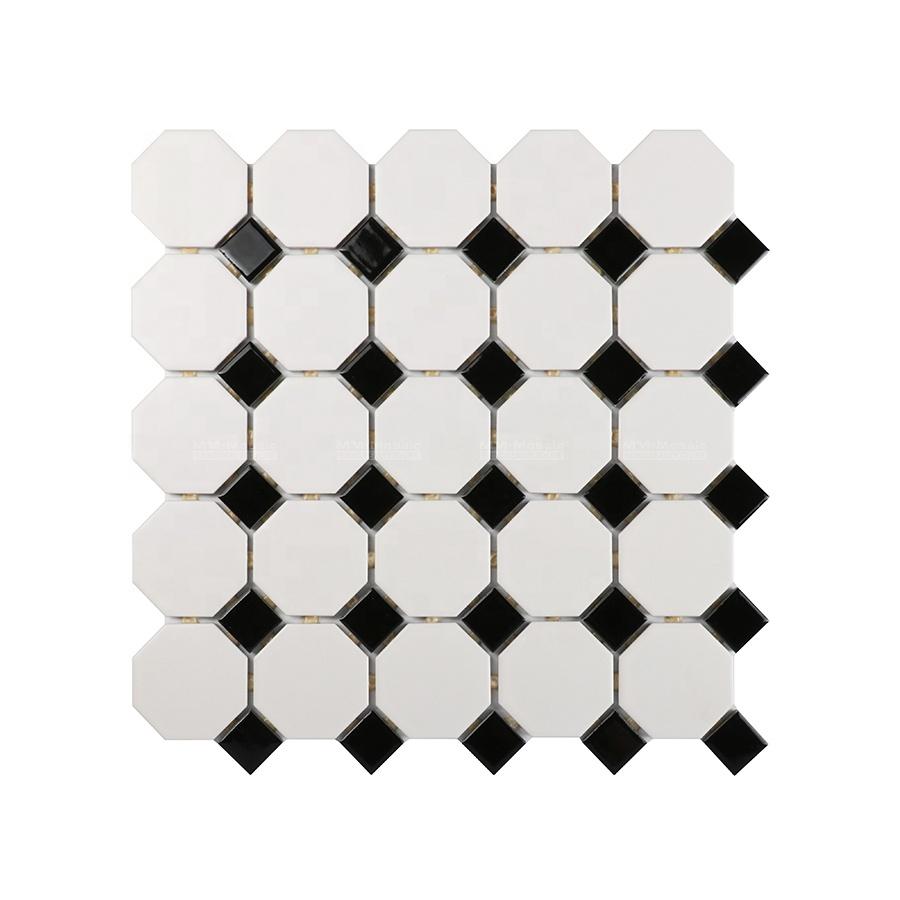 2 dot joint black white ceramic octagonal premium mosaics tile for floor wall kitchen bathroom shower buy octagon premium mosaics tile octagonal