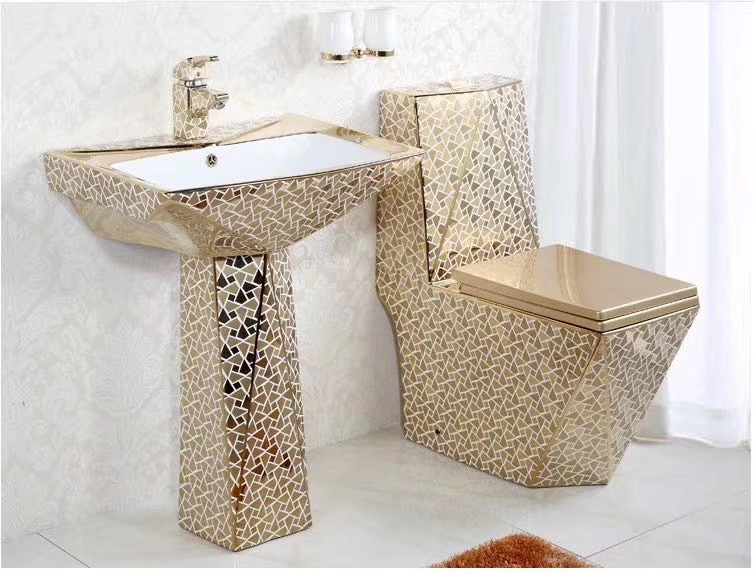 china manufacture gold plated toilet and pedestal basin sets matching in the same style view toilets bathroom design ceramic guci product details