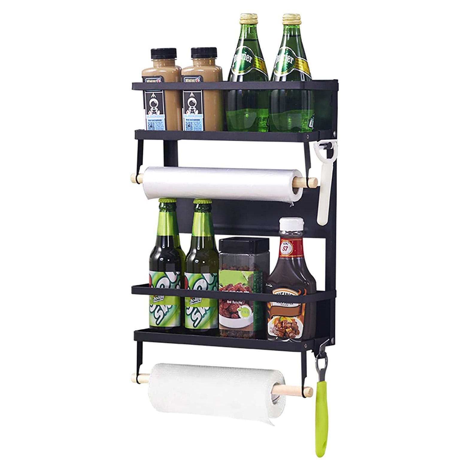 magnetic fridge organizer spice rack with paper towel holder and 5 extra hooks 4 tier magnet refrigerator shelf in kitchen buy fridge