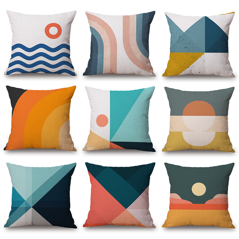 modern simple colorful cotton linen geometric throw pillow covers home decor cushion cases for couch sofa bed buy decorative throw square pillow