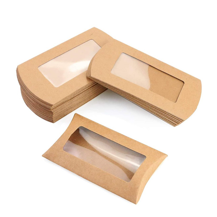 pillow boxes with clear window small rustic thank you treat box for bridal parties wedding box kraft paper packaging paperboard buy kraft paper