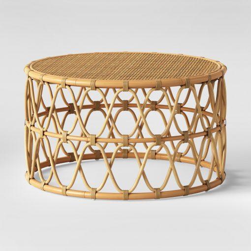 round rattan coffee table view rattan