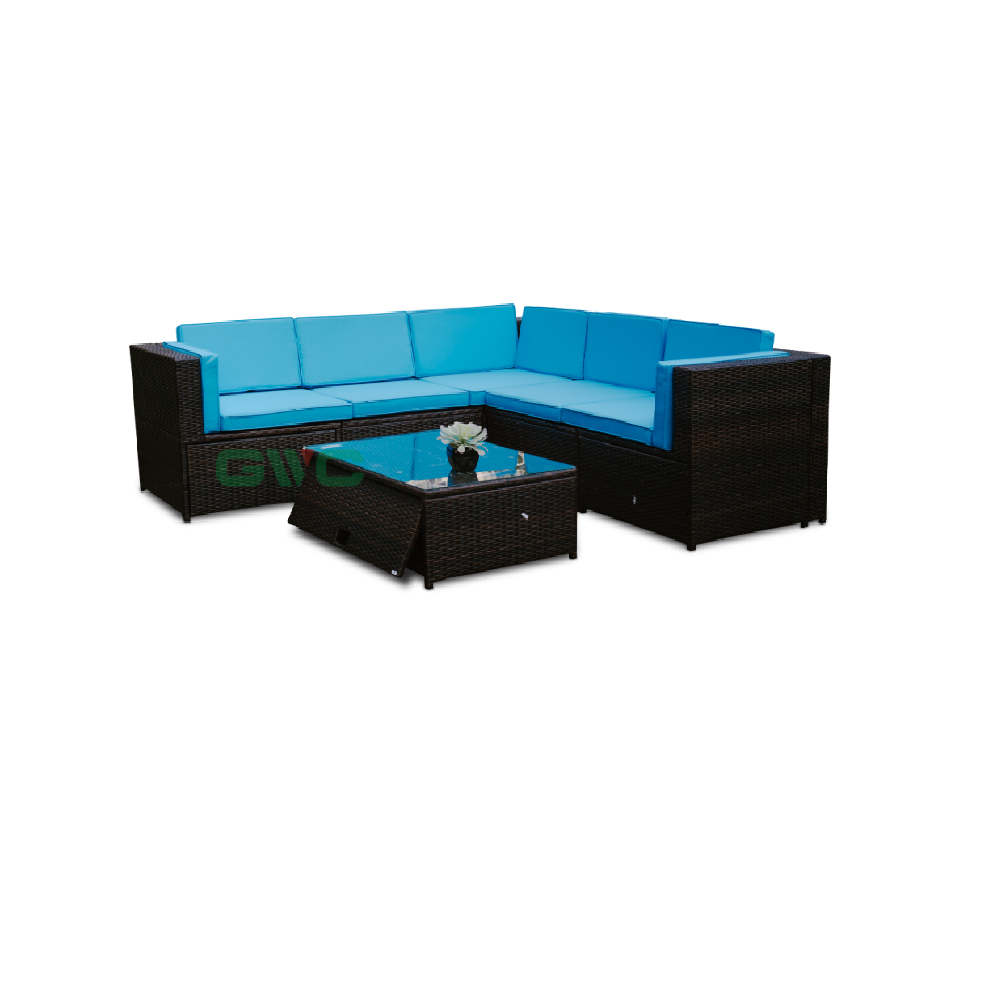 6 pieces outdoor sectional sofa set manual weaving patio conversation rattan wicker set with cushion and storage coffee table buy sectional sofa