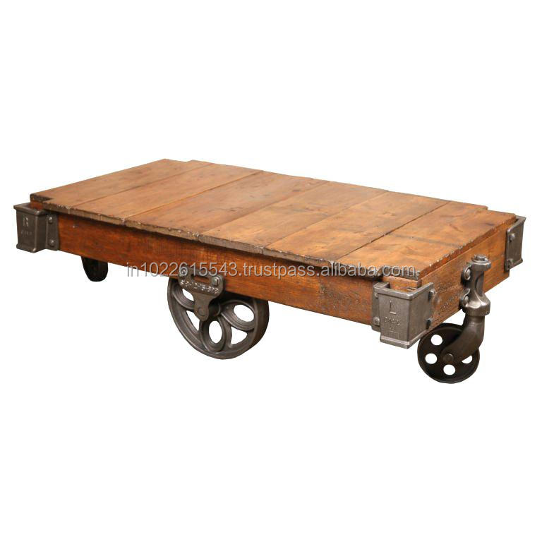 industrial mango wood coffee table with iron wheels vintage reclaimed wood coffee table with iron wheels buy living room wood coffee tables with