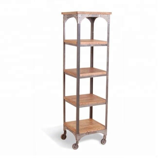 etagere pour livres en bois longue vintage et industriel en fer manga massif avec roues buy portable book shelf metal storage shelf with
